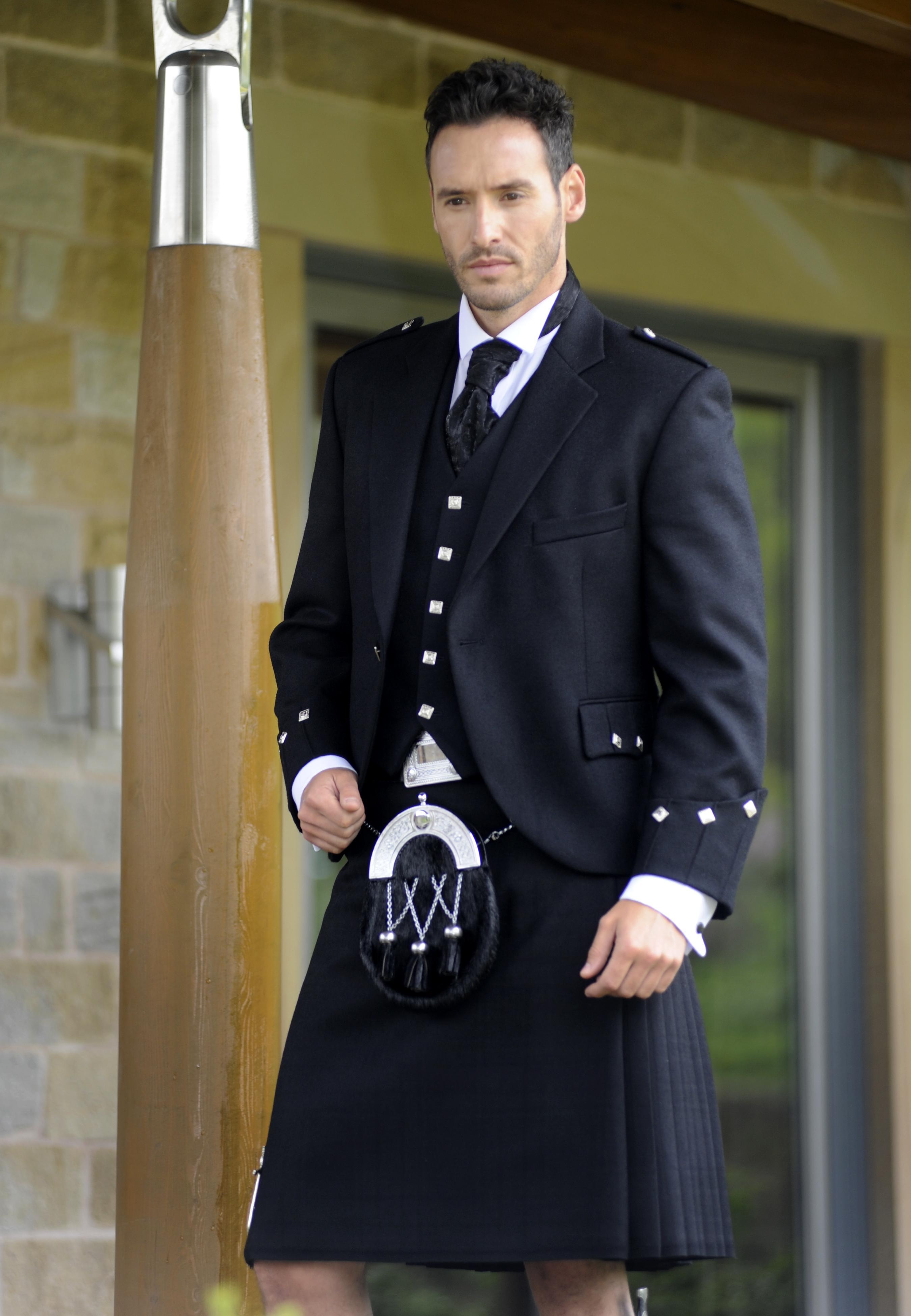 Black Spirit kilt with Argyle jacket high button waistcoat scrunch tie and sporan