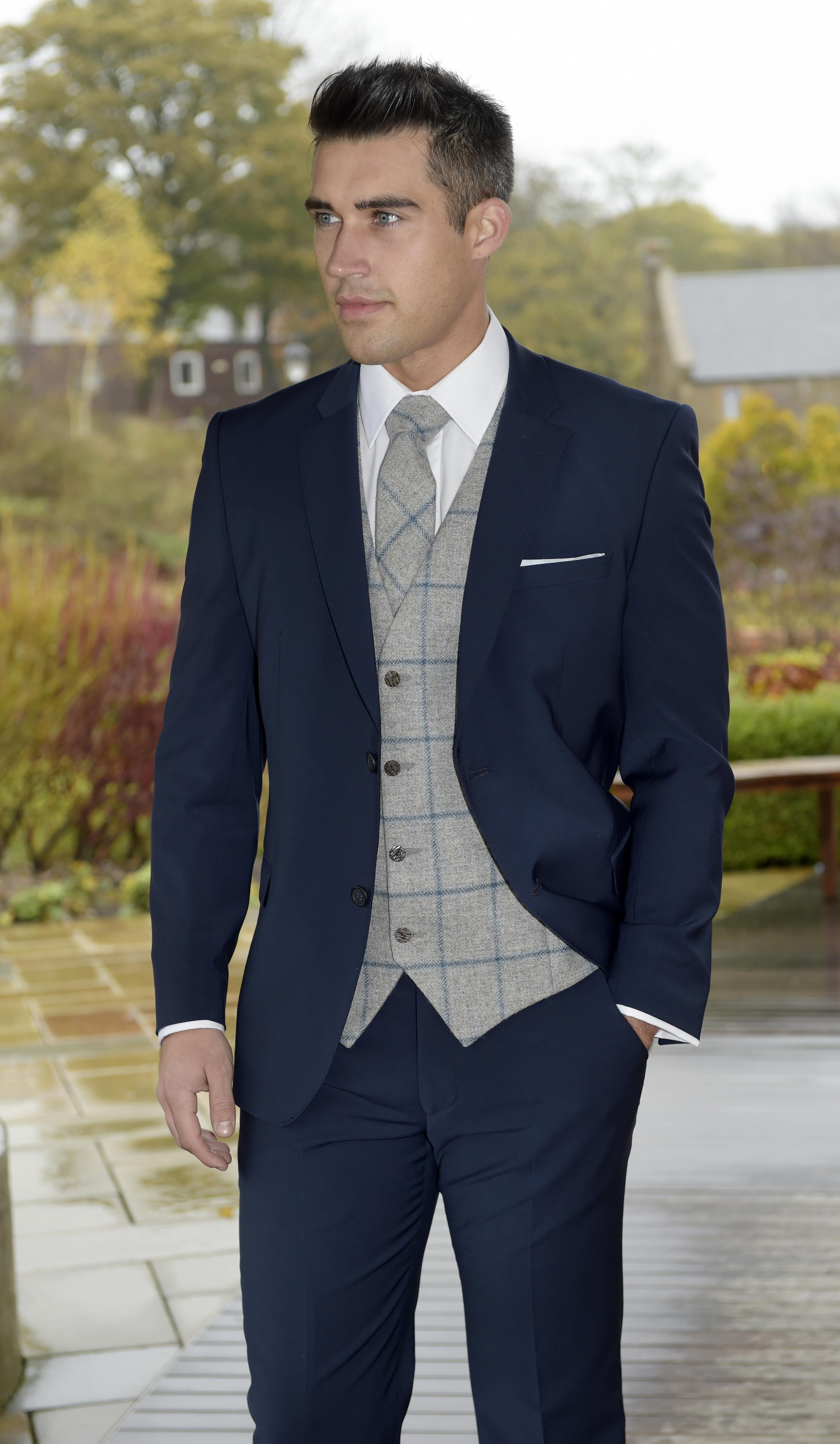 Navy Slim fit lounge suit with chalk grey tweed waistcoat